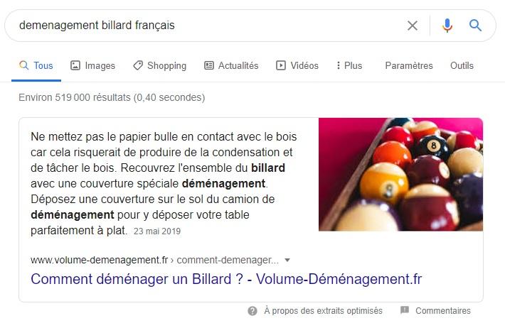 Featured Snippet Demenager billard francais-Webapic