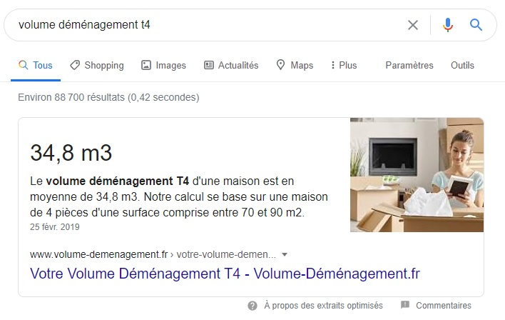 Featured Snippet volume demenagement T4-Webapic